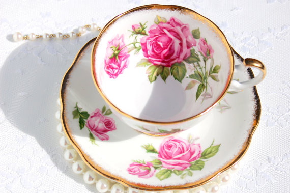 Antique English Tea Cup and Saucer.  Pink Roses Tea by EcoIdeology