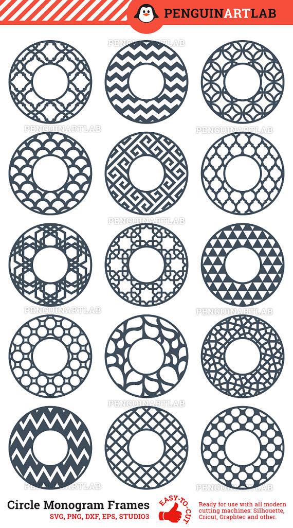 Polka Dot circle cut file for monogram with place for monogram cut file silhouette file. vinyl file