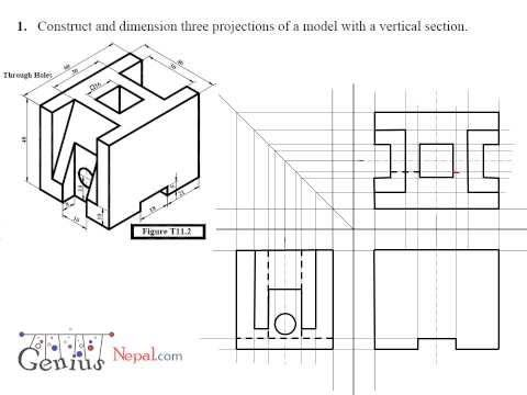 Engineering Drawing Tutorials Orthographic Drawing Solution T
