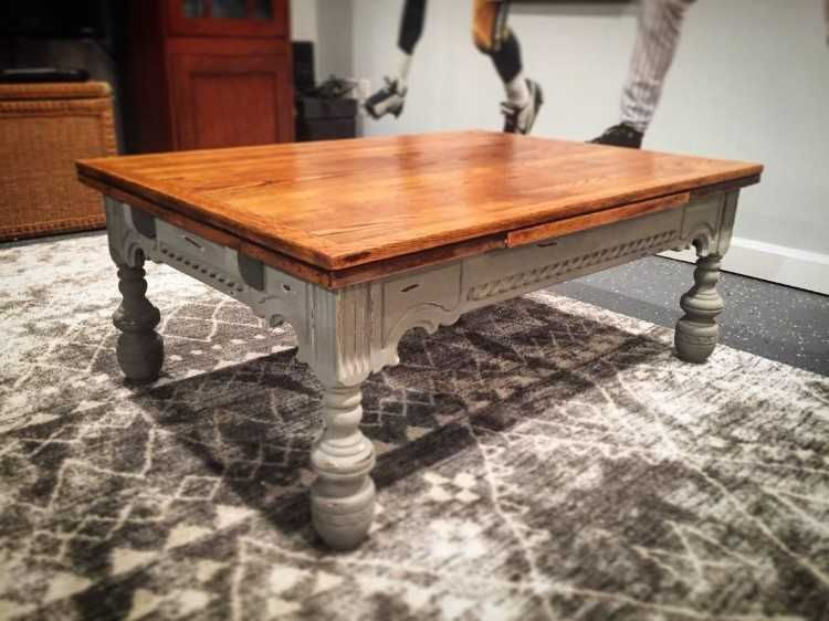 beautiful one of a kind re finished solid oak coffee table rh pinterest com