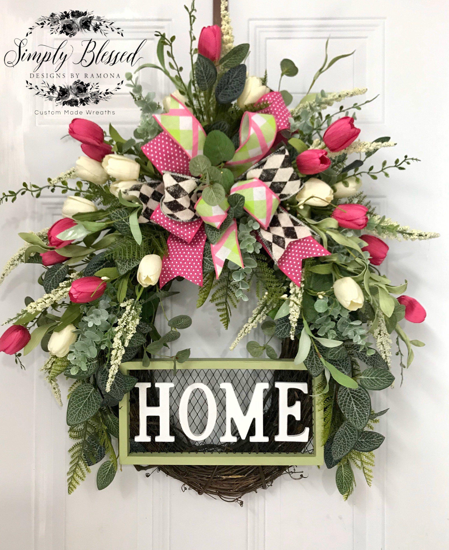 Home Decor Spring Wreath, Tulip Mason Jar Door Hanger