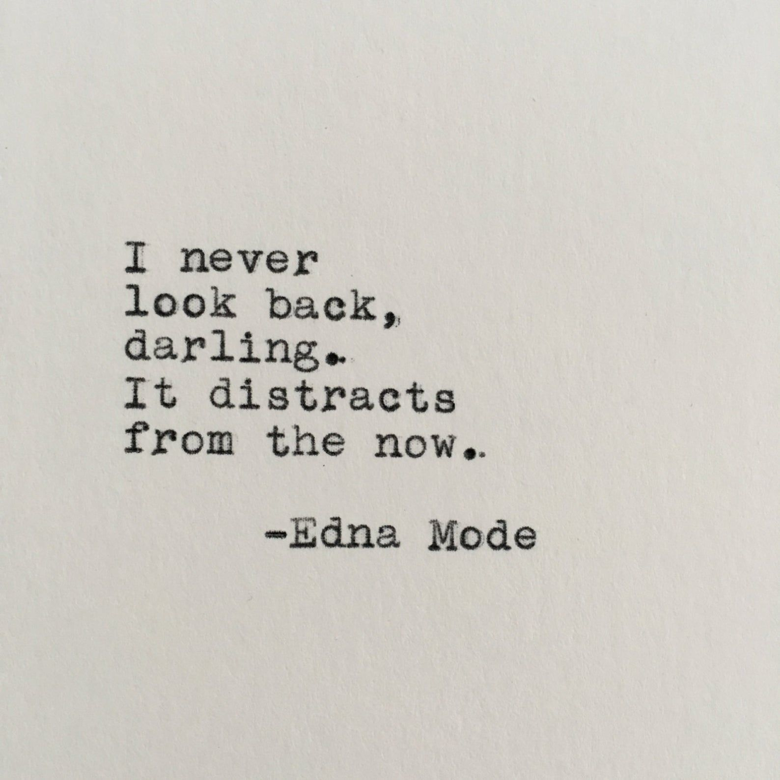 Pixar's The Incredibles Quote (Edna Mode) Typed on Typewriter