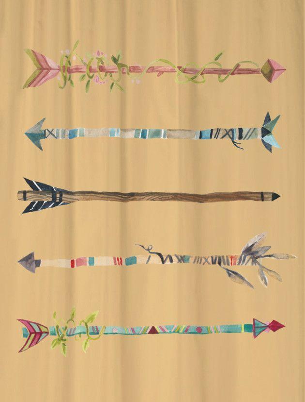 Watercolor Arrows Shower Curtain For Your Tribal Bathroom Decor