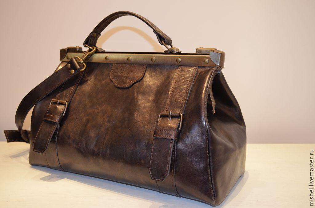 f69d37e39bfb Купить Саквояж с ремнями - темно-серый, саквояж, саквояж кожаный, саквояж из
