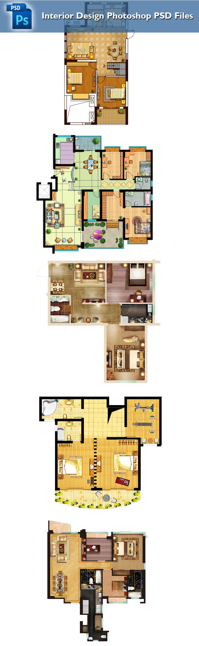 15 Types of Interior Design Layouts PSD Template