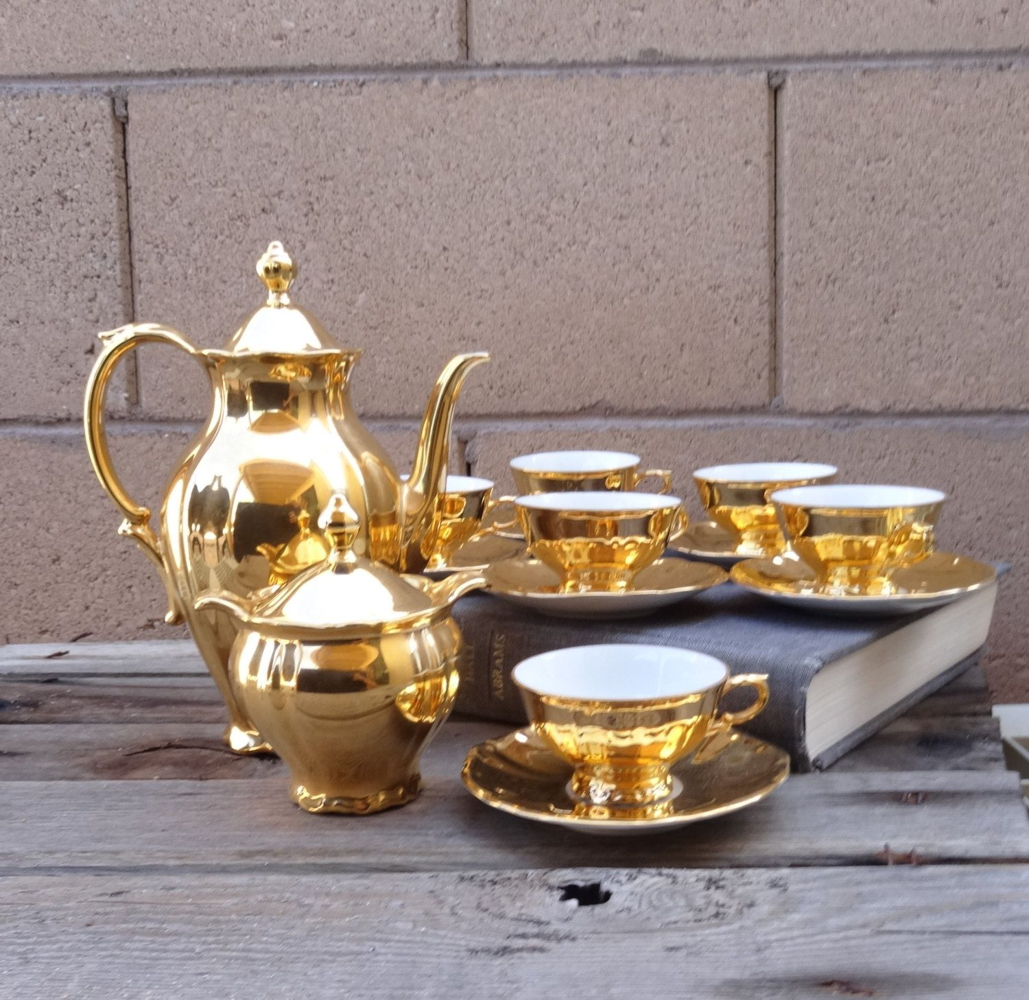 Vintage Bareuther Waldsen Bavaria Gold Porcelain Tea Set Service For Demite Coffee By Tiesofmyfather On Etsy