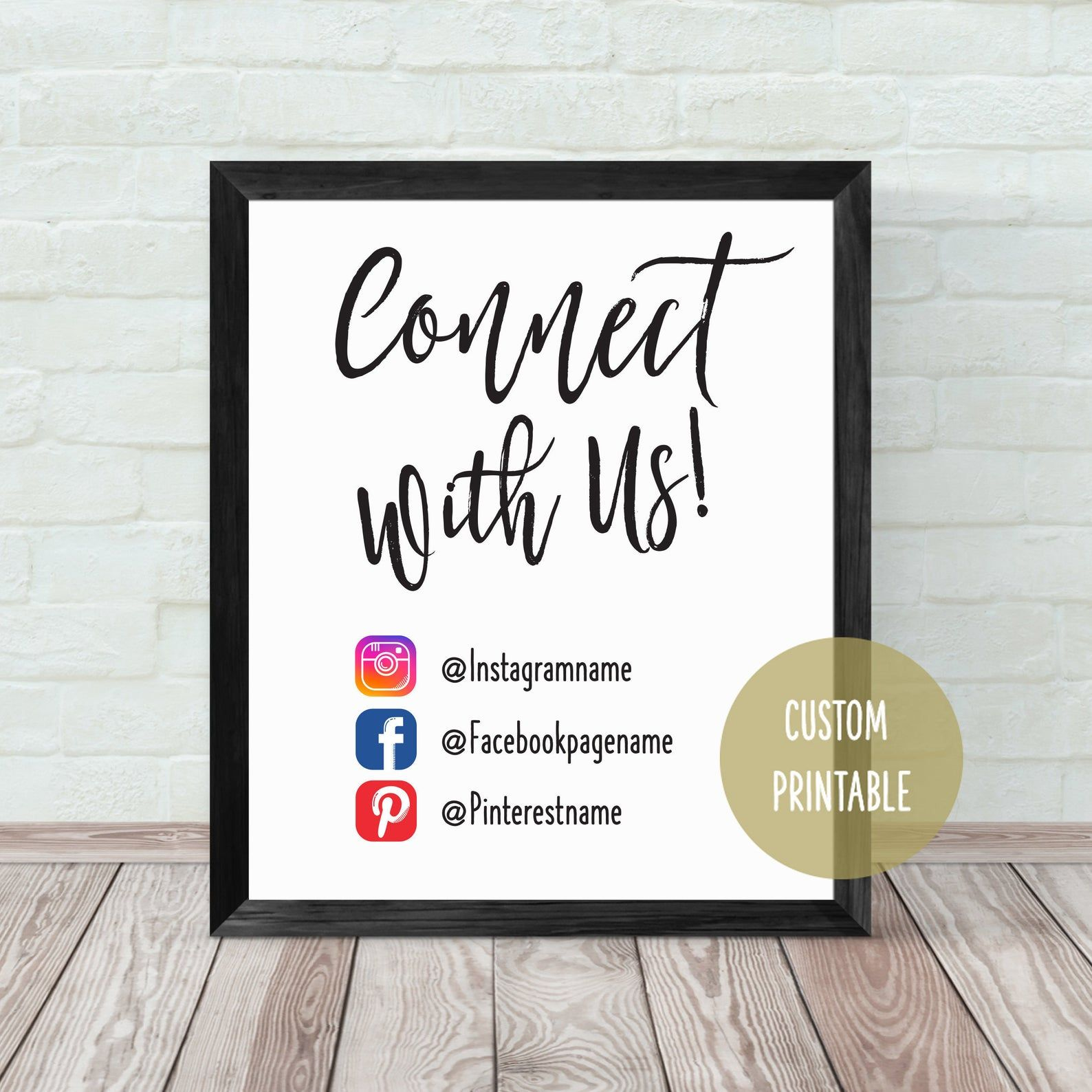 Connect With Us, Social Media Sign 8x10 Small Business