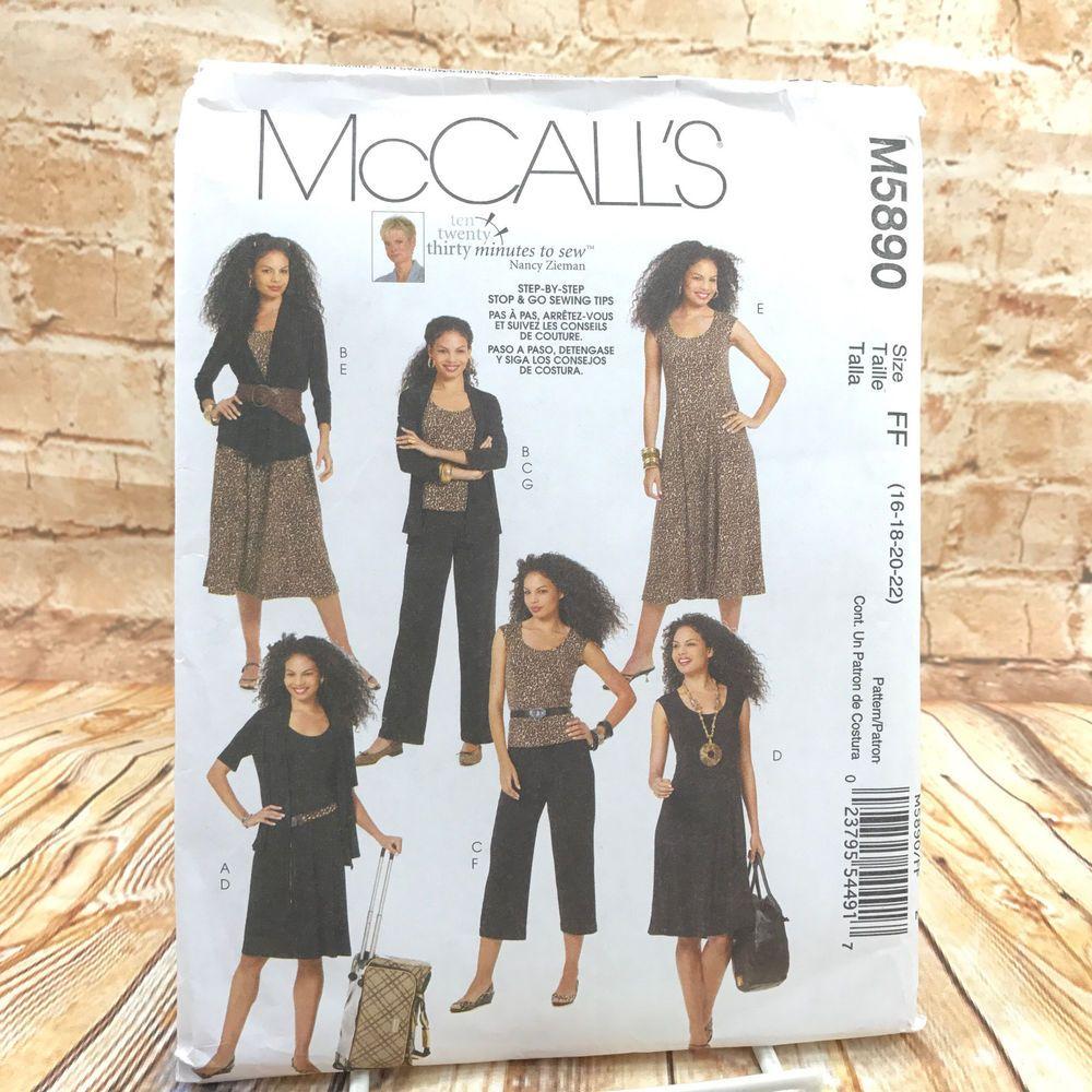 McCalls 5890 Womens Plus Size Jacket Top Dress Pants 2 Lengths Sz 16 ...