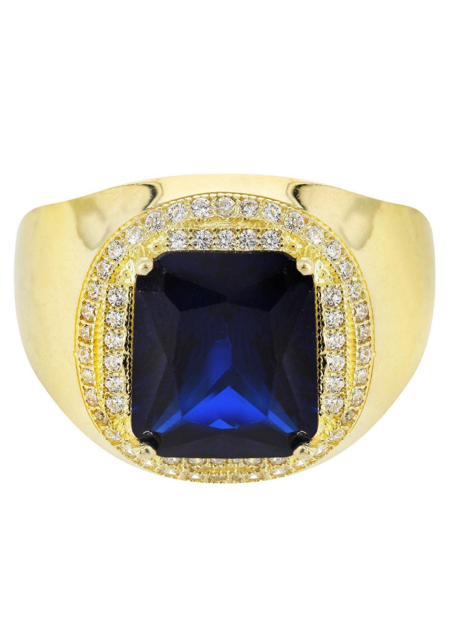 Frostnyc frost nyc sapphire u cz k yellow gold mens ring
