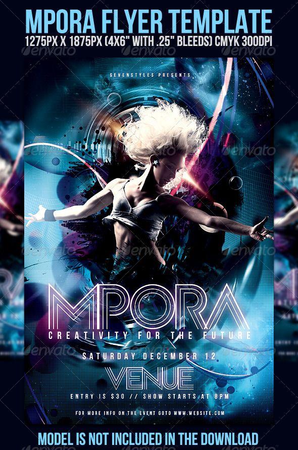 mpora flyer template clubs parties events night pinterest