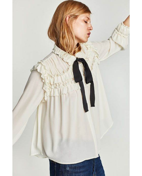 80b4452afab01 Image 4 of RUFFLED BLOUSE WITH CONTRASTING BOW from Zara