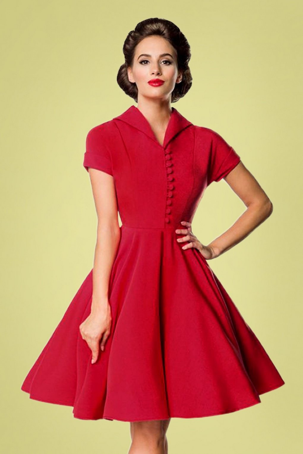 40s Valencia Swing Dress In Deep Red Swing Dress Vintage Inspired Outfits Shirtwaist Dress [ 1500 x 1000 Pixel ]