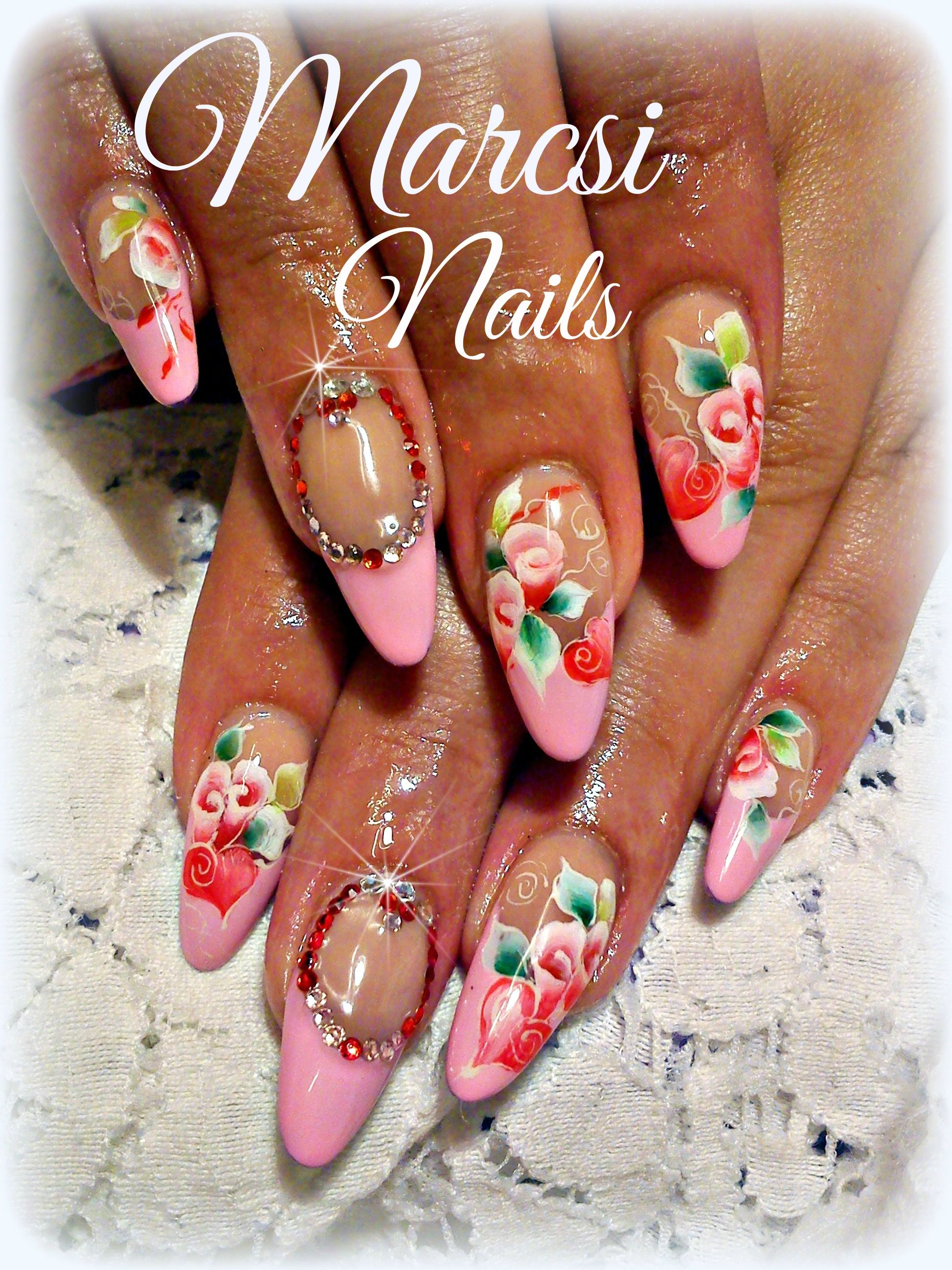 Pink french nails/ Flower nail art | nail designs | Pinterest ...