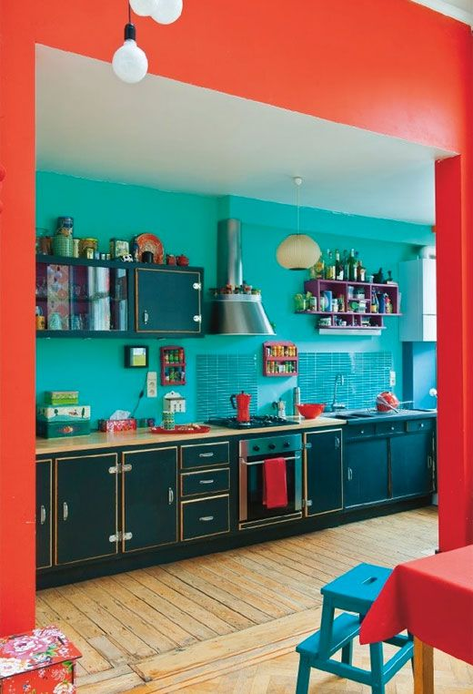 Attrayant Deep U0026 Bright: 10 Ways With Red U0026 Teal | Casas, Decoracion . | Pinterest | Teal  Kitchen Designs, Color Paints And Teal Kitchen