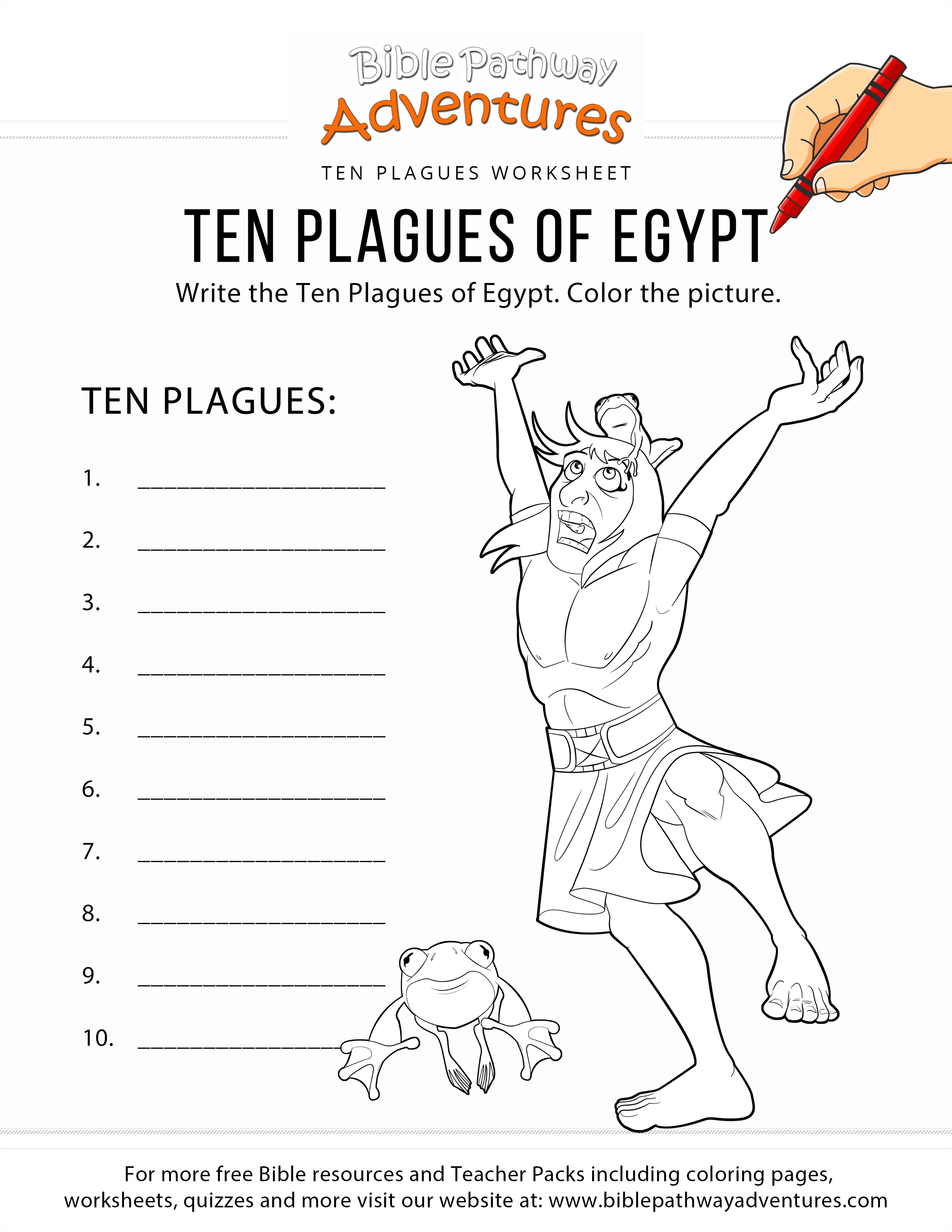 Ten Plagues Of Egypt Worksheet Amp Coloring Page