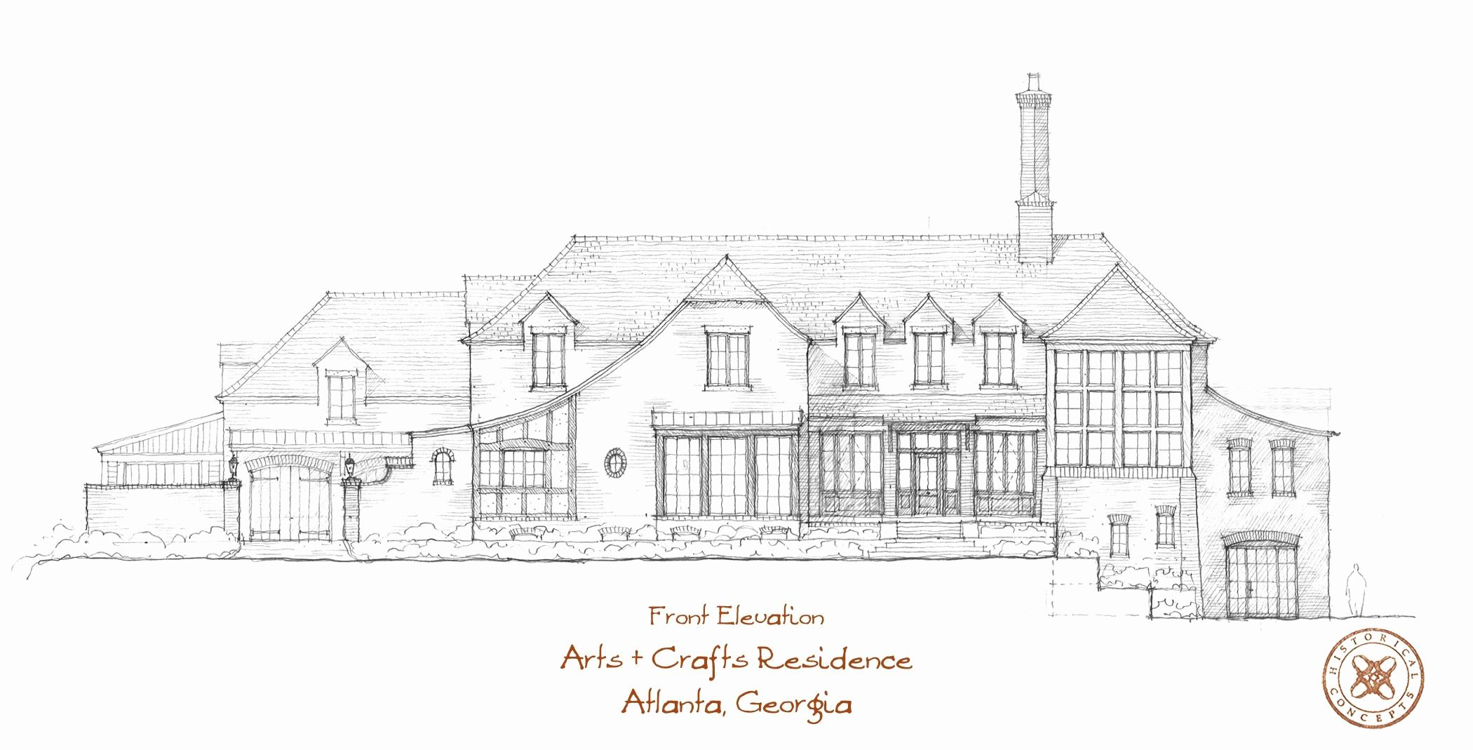 arts and crafts house plans elegant a hand sketch of the front