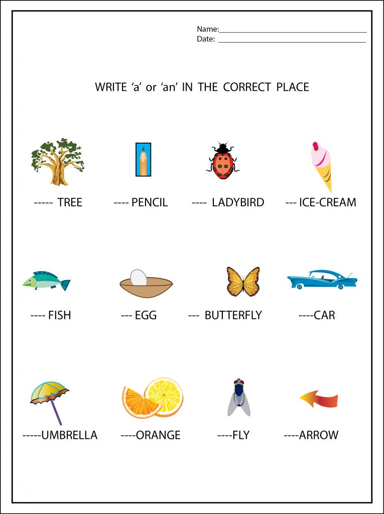A or An Worksheet Kindergarten worksheets free