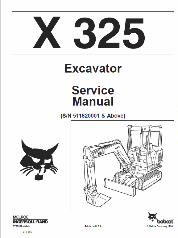 Bobcat X325 And X328 Excavator Service Manual Repair Manuals Excavator Hydraulic Excavator