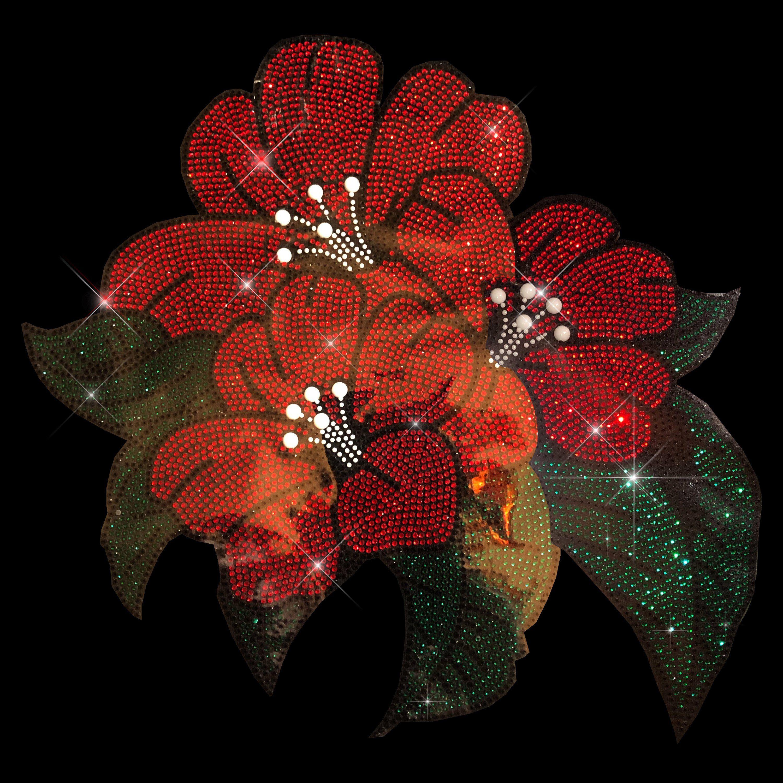 Lilies Rhinestone Iron On Heat Transfer