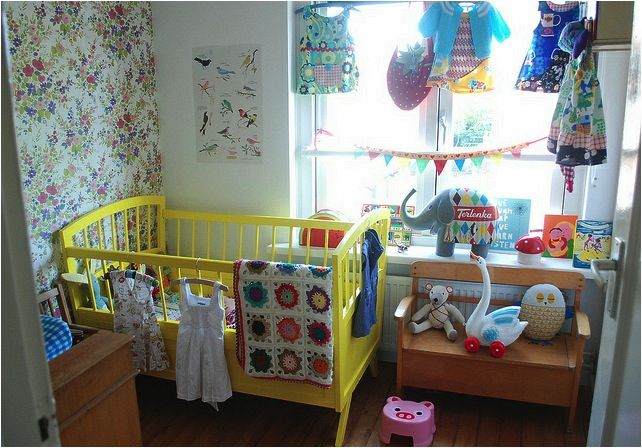 Love The Following Wallpapered Accent Wall Yellow Vintage Crib Bench Crocheted Blanket Set In Window Sill Etc