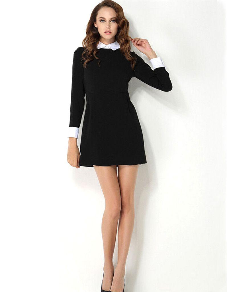 Silhouette  A-Line Waistline  Natural Neckline  Turn-down Collar Sleeve  Length  Full Dresses Length  Above Knee dd8980554