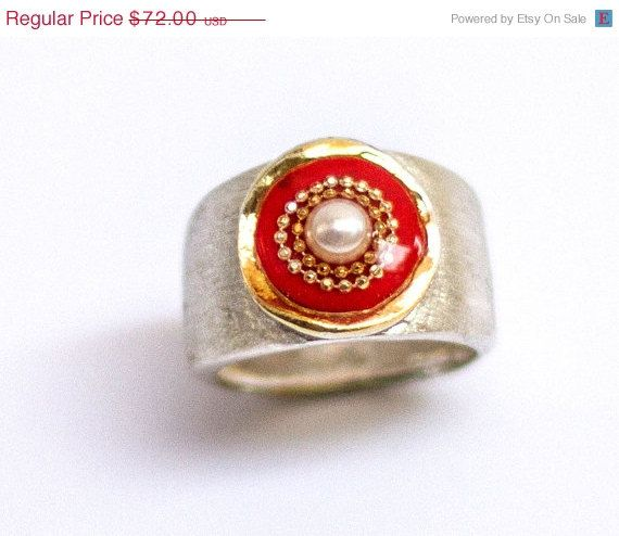 Pearl ring Red ring Sterling Silver ring with red by hilawelner
