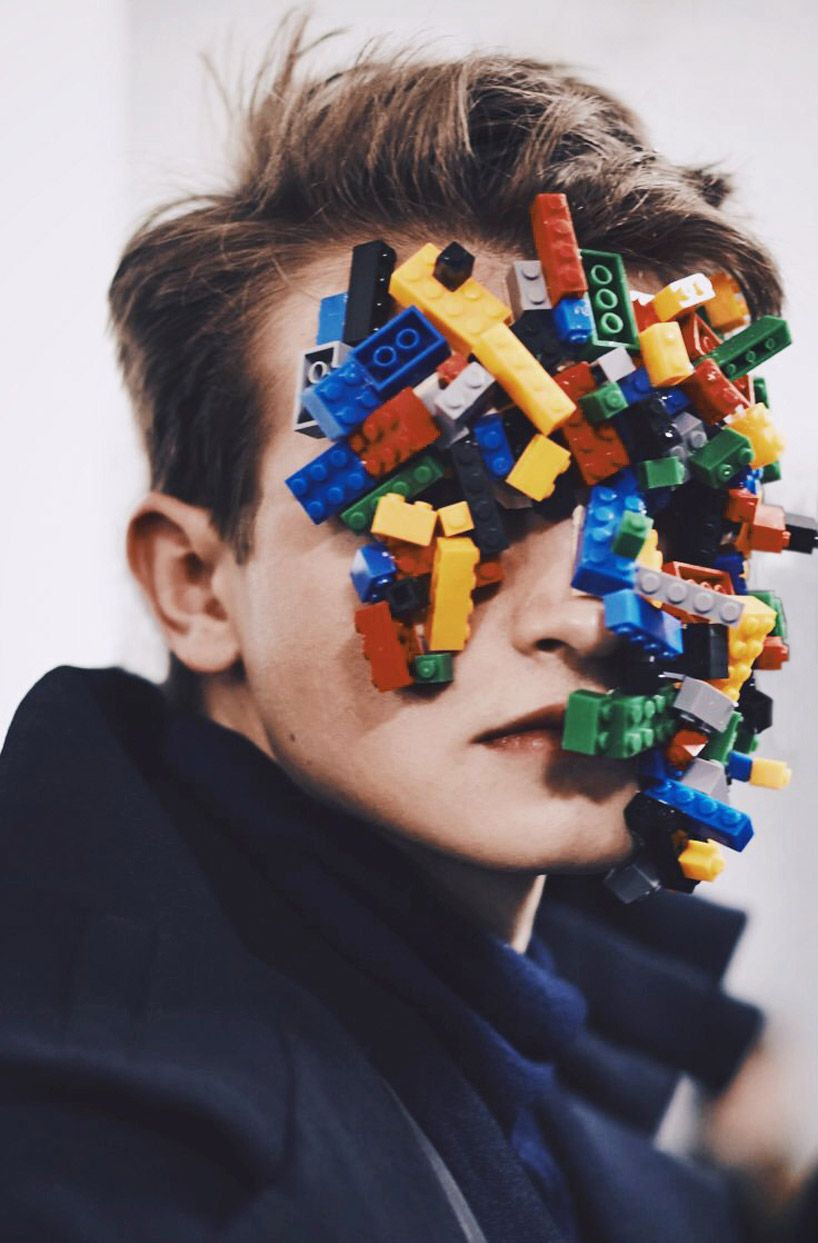 agi & sam asked make-up artist and beauty editor of ID-magazine isamaya ffrench to create LEGO masks -- like weird outgrowths on the models' faces.
