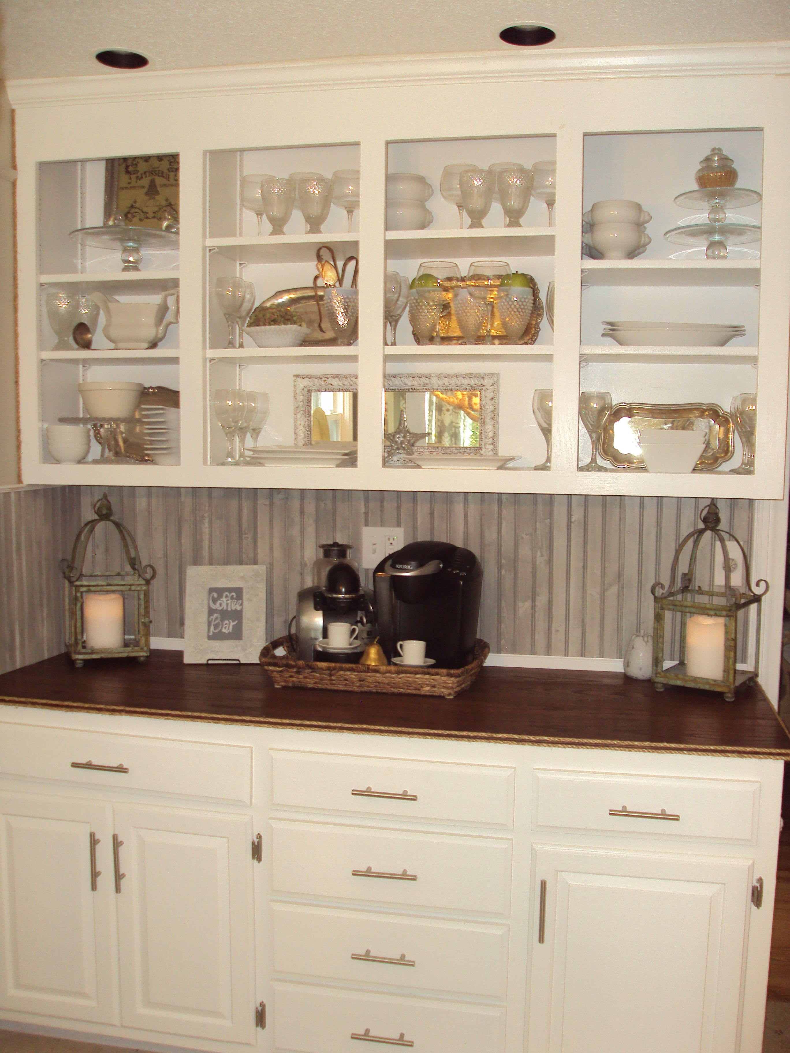 This Is My Coffee Bar That I Refurbished By Painting The Outdated Oak Cabinets Simply White By Bm And Removing Kitchen Remodel Kitchen Renovation Oak Cabinets