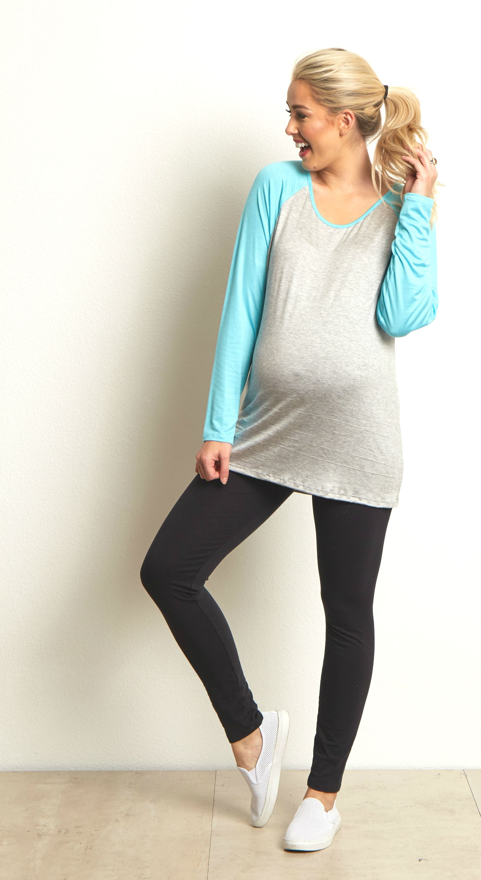fe6fd715921b8 Get active in basics from maternity leggings to maternity tank tops and  baseball inspired maternity tops