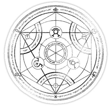Human Transmutation Circle Charcoal Sticker By R Evolution Gfx Transmutation Circle Alchemy Circle Tattoo