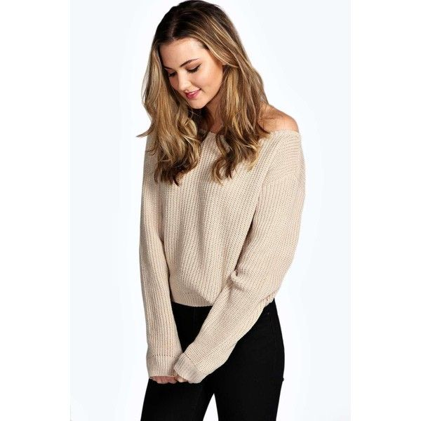 Boohoo Natalie Slash Neck Crop Fisherman Jumper ($20) ❤ liked on Polyvore featuring tops, sweaters, stone, oversized cable knit sweater, off the shoulder tops, off shoulder sweater, chunky cable knit sweater and chunky oversized sweater