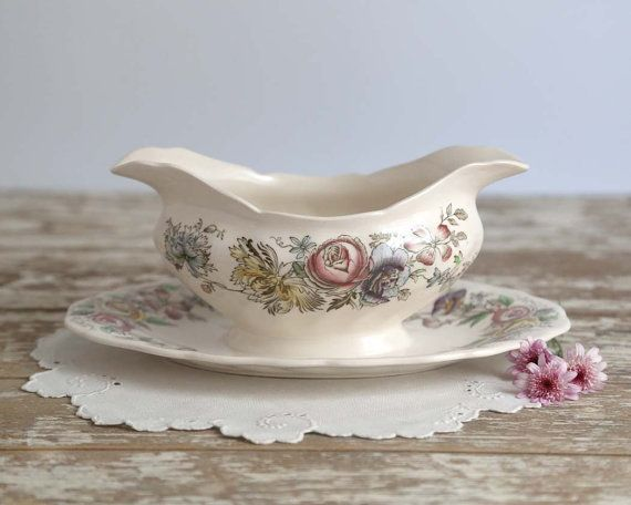 Vintage Johnson Brother Sheraton Gravy Boat by TheHeirloomShoppe