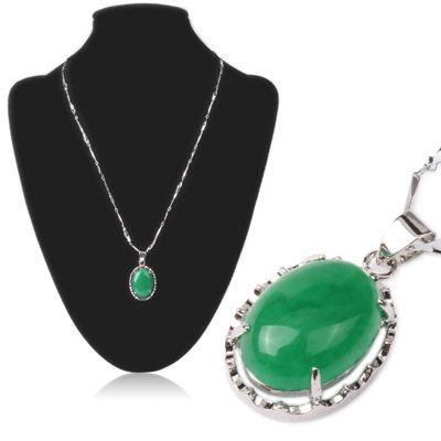 [$4.33] Ellipse Malay Jade Pendant Slender Necklace Neck Decor Jewelry for Lady