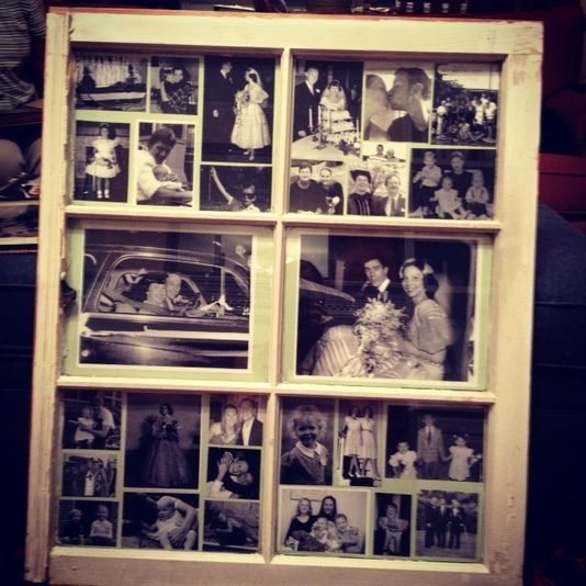 diy collage photo frame using an old window - Windowpane Picture Frame