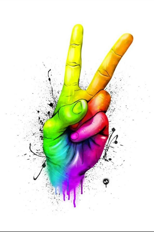 Colors of the rainbow peace sign