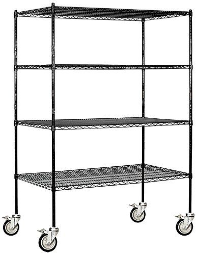 Salsbury Industries Mobile Wire Shelving Unit 60inch Wide By 80inch High By 24inch Deep Black Click On The I Wire Shelving Units Wire Shelving Shelving Unit