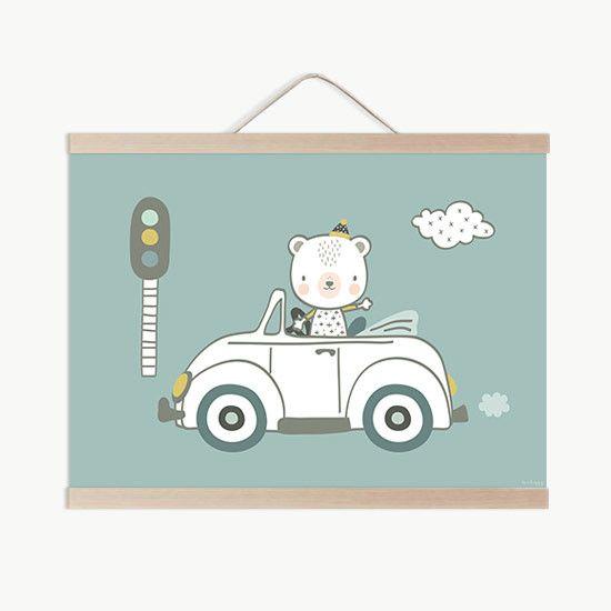 Lámina bebe oso coche conduciendo por las paredes del cuarto de tu ...