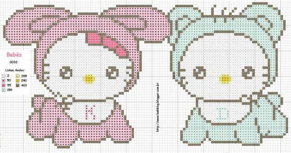 Hello Kitty BEBE en punto de cruz  Imagui  Cross stitch