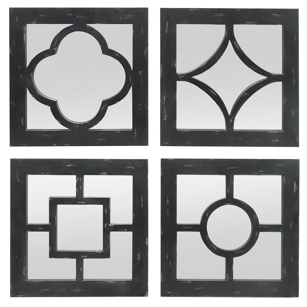 Geometric Overlays Wood Decorative Wall Mirrors Set Of 4