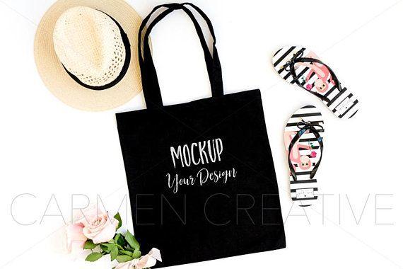 St Liberty Bags 8502 Black Canvas Tote Bag Mock Up MockUp Image Flat Lay Flatlay 221 Patrick/'s Day Styled Themed Mock Up