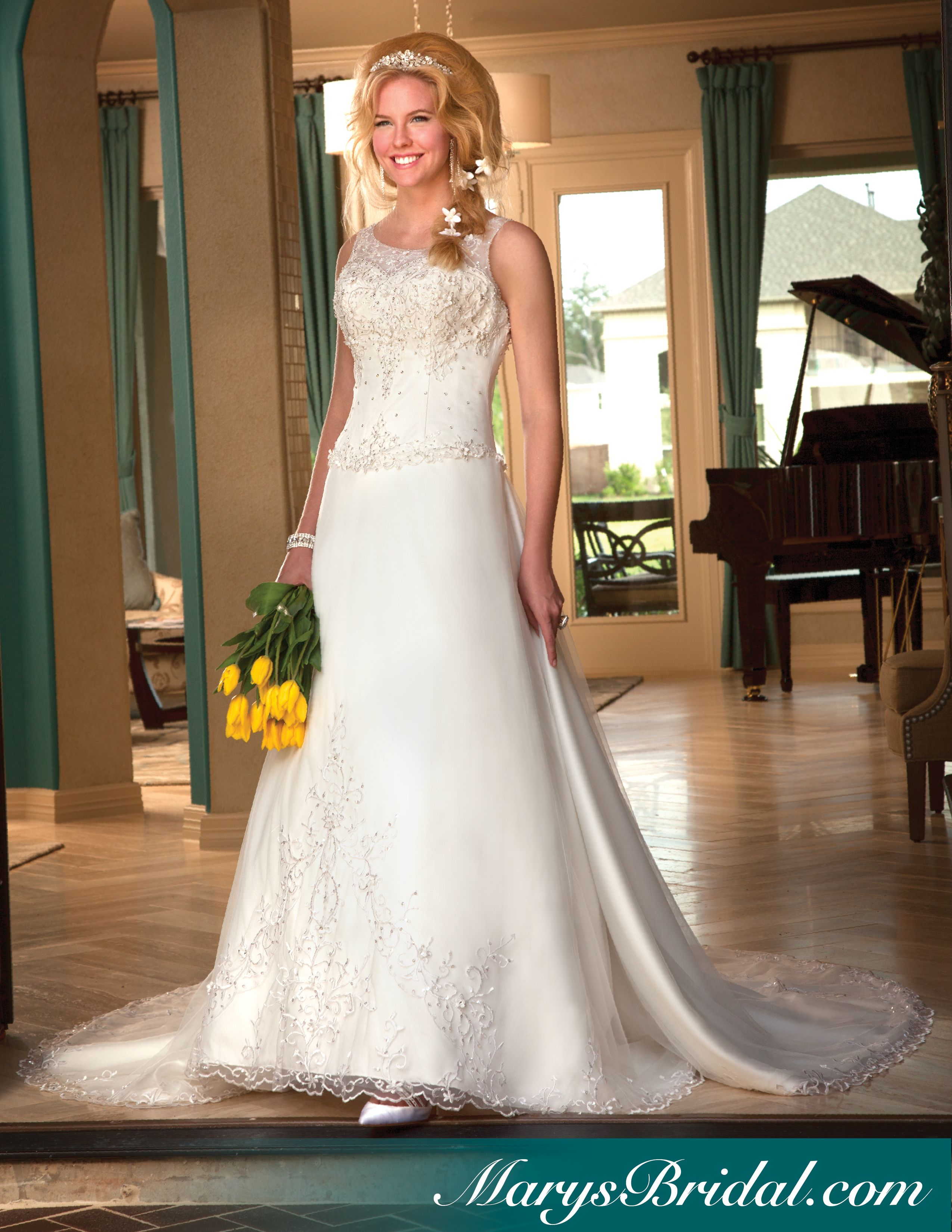 Aline bridal gown with illusion neckline and detachable