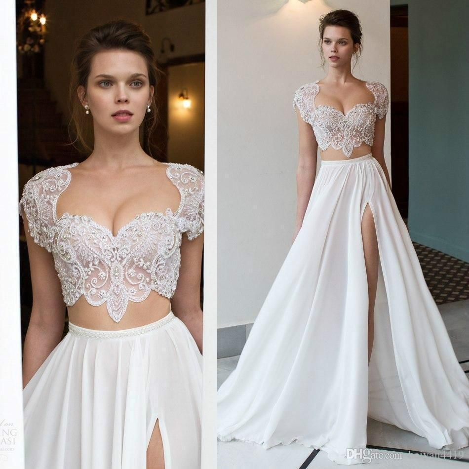 two pieces sexy sweetheart boho wedding dresses cap sleeves