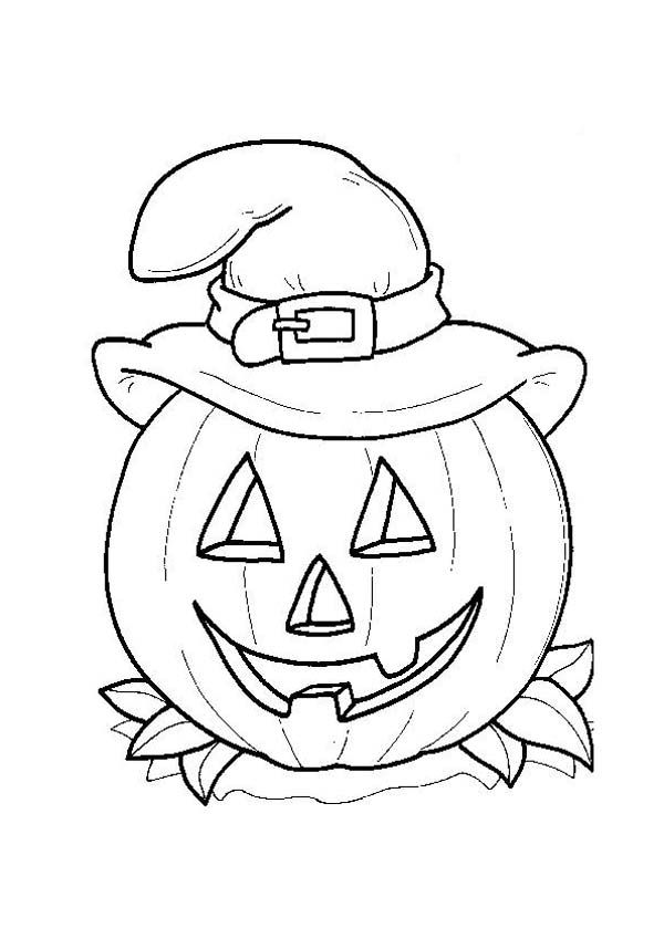 Smiling Jack O Lantern With Witch Hat On Halloween Day Coloring Page Smiling Jack O La Halloween Coloring Sheets Halloween Coloring Pages Halloween Coloring