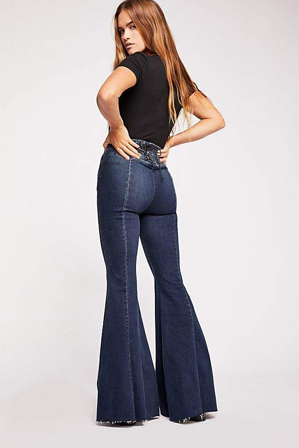 6ab9f68eac87d3 We The Free CRVY Super High-Rise Lace-Up Flare Jeans in 2019 ...