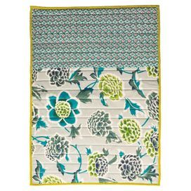 """Bring garden-chic style home with this lovely cotton mat, featuring a floral motif.  Product: MatConstruction Material: CottonColor: Gray and multiFeatures:  Floral motifHandmadeDimensions: 34"""" x 21""""Cleaning and Care: Spot clean"""