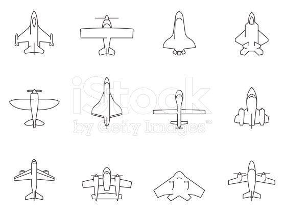 Airplane Silhouette Icons In Thin Outlines Airplanes Aviations Airplane Tattoos Pilot Tattoo Aviation Tattoo