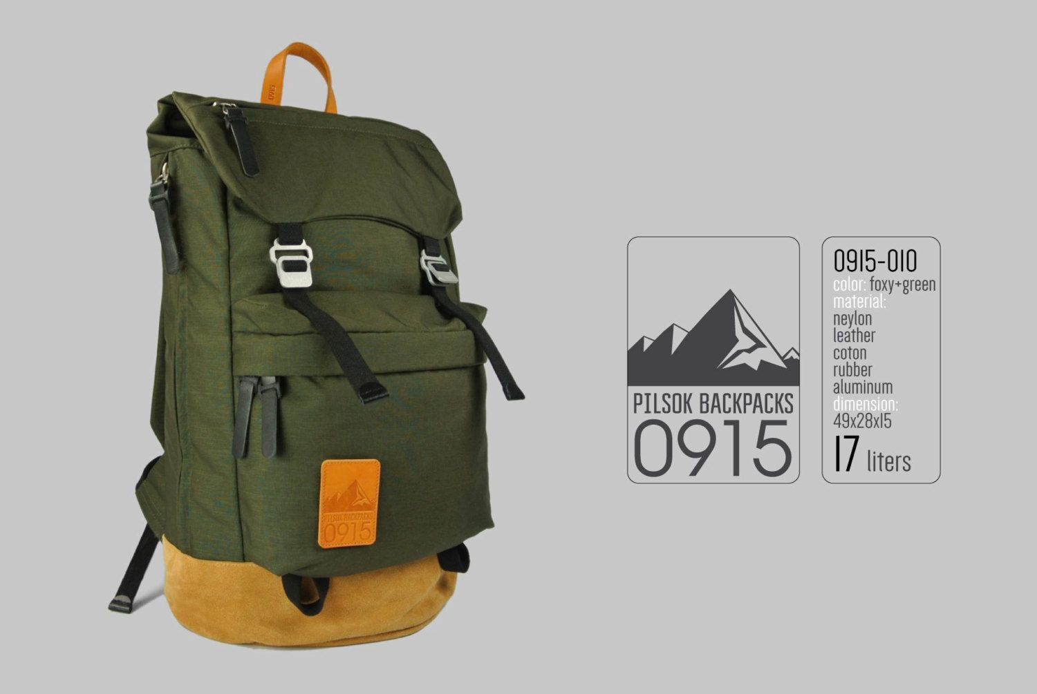 Backpack Pilsok 0915-010 FoxyGreen / Backpack of Cordura and Suede / Backpack with Suede Brown Bottom (105.00 USD) by Pilsok