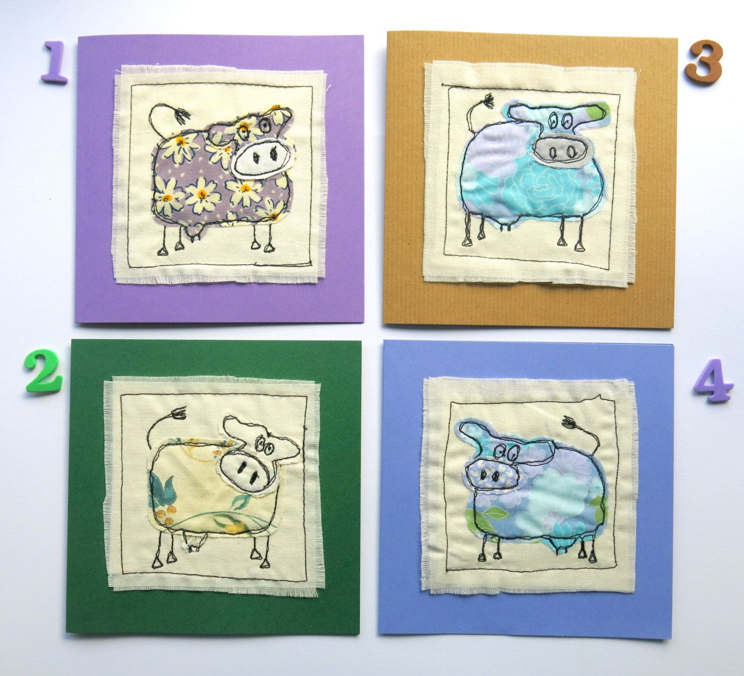 Cow Card Applique Card Animal Card Stitched Card Greeting