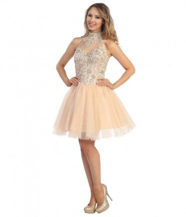 This short tulle dress features an intricately embellished bodice with a collared-halter neckline. The sweetheart bust h...Price - $178.00-ARut8WqN