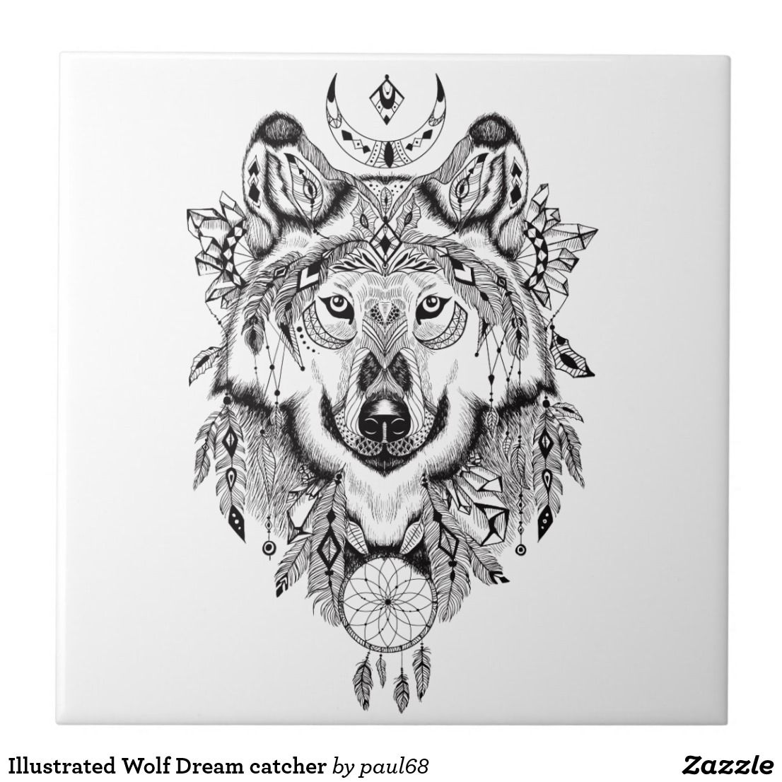 5d99ece314156 Illustrated Wolf Dream catcher Ceramic Tile | Zazzle.com | Ink ...